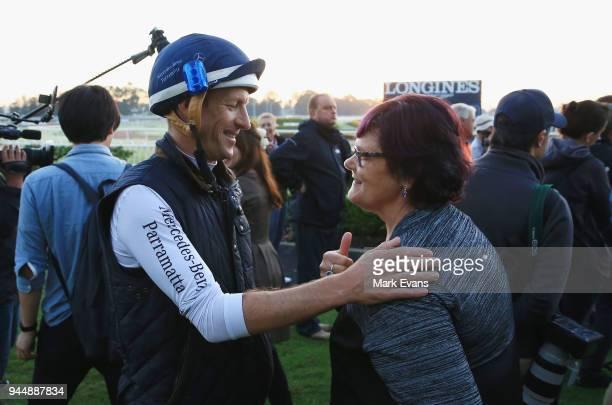 Jockey Hugh Bowman with Winx part owner Debbie Kepitis after a trackwork session at Rosehill Gardens on April 12 2018 in Sydney Australia