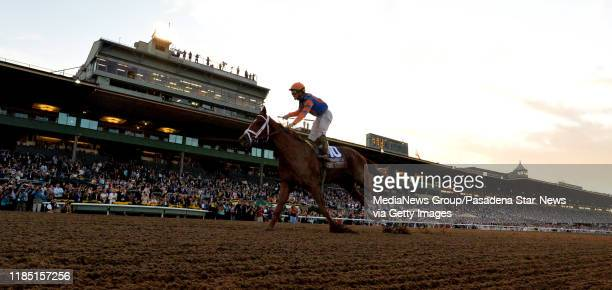 Jockey Irad Ortiz Jr riding Vino Rosso wins the Breeders Cup Classic race during the Breeders Cup World Championships horse racing at Santa Anita...