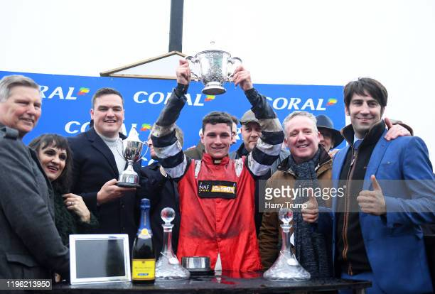 Jockey Jack Tudor lifts the Welsh Grand National Trophy at Chepstow Racecourse on December 27, 2019 in Chepstow, Wales.
