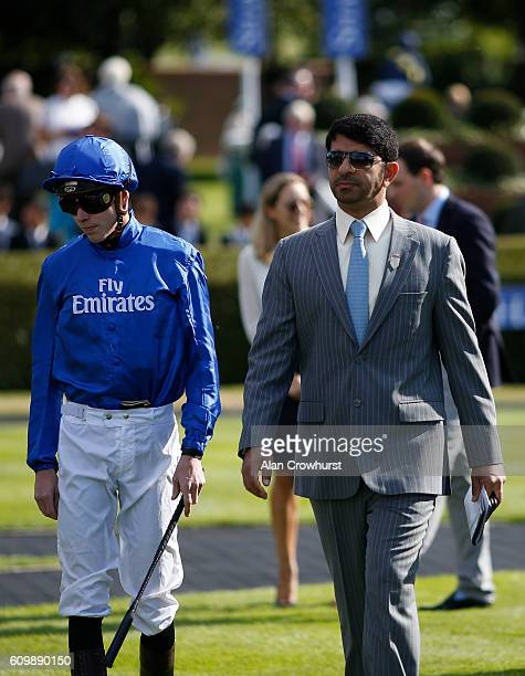 Jockey James Doyle with trainer Saeed bin Suroor at Newmarket Racecourse on September 23 2016 in Newmarket England