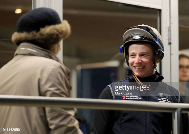 Jockey James McDonald greets Gai Waterhouse on his fist day back riding after an 18 month suspension during a trackwork session ahead of day one of...