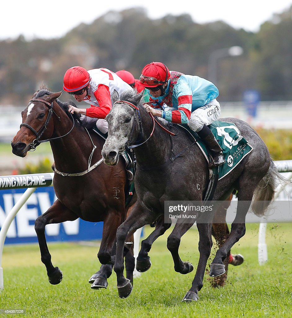 Jockey Jason Collett (right) rides Ambivalent to win Race 2 'More Than Ready Handicap' during Sydney Racing at Rosehill Gardens on August 30, 2014 in Sydney, Australia.