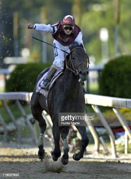 Jockey Javier Castellano aboard Bernardini crosses the finish line and wins the 131st Preakness Stakes at Pimlico Race Track in Baltimore Maryland on...
