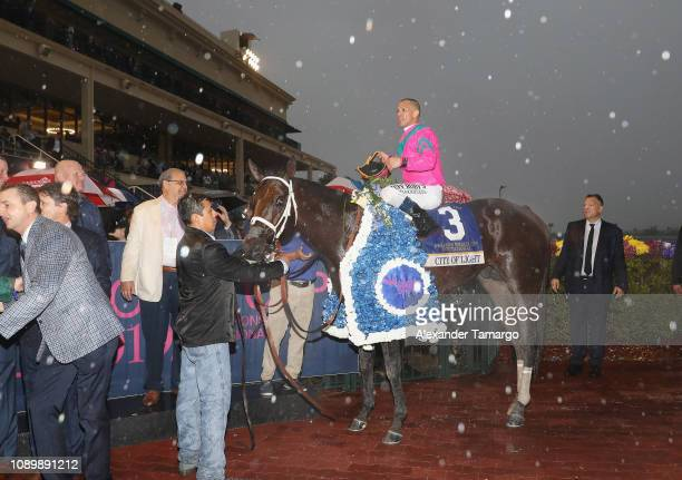 Jockey Javier Castellano and horse City of Light at the 2019 Pegasus World Cup at Gulfstream Park on January 26 2019 in Hallandale Florida