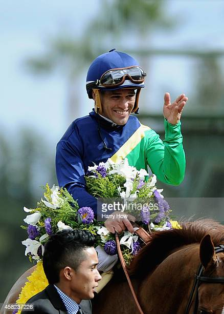 Jockey Javier Castellano celebrates atop Dayatthespa after winning the 2014 Breeders' Cup Filly and Mare Turf at Santa Anita Park on November 1 2014...