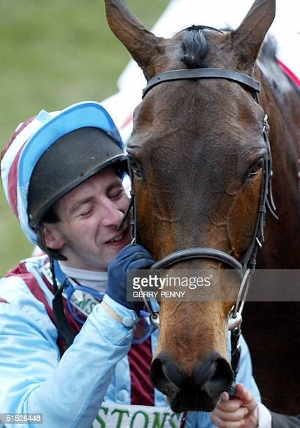 Jockey Jim Culloty kisses Best Mate after they won the Cheltenham Gold Cup 14 March 2002 at the Cheltenham Festival It was a first Gold Cup triumph...