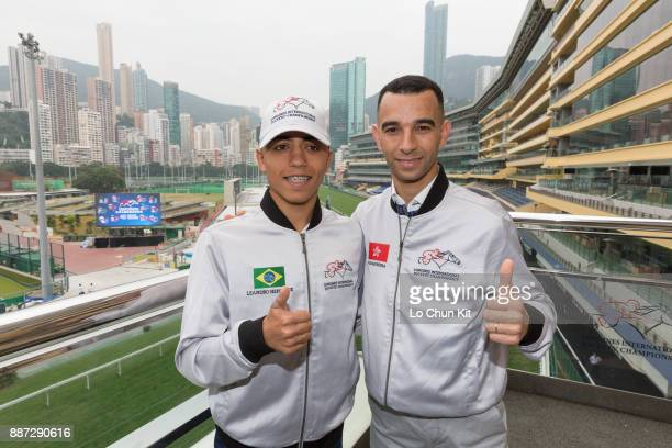 Jockey Joao Moreira and Leandro Henrique attend the LONGINES International Jockeys' Championship Media Photo Call at Happy Valley Racecourse on...