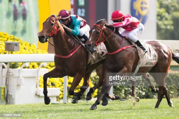 Jockey Joao Moreira riding Beat The Clock wins Race 5 The Centenary Sprint Cup at Sha Tin racecourse on January 20 2019 in Hong Kong Karis Teetan...