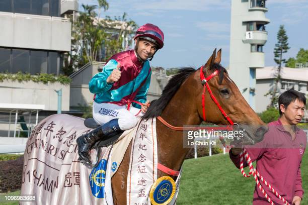 Jockey Joao Moreira riding Beat The Clock wins Race 5 The Centenary Sprint Cup at Sha Tin racecourse on January 20 2019 in Hong Kong It is the first...