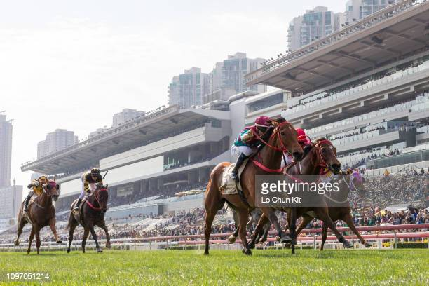 Jockey Joao Moreira riding Beat The Clock wins Race 5 The Centenary Sprint Cup at Sha Tin racecourse on January 20, 2019 in Hong Kong. It is the...
