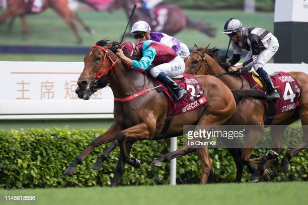 Jockey Joao Moreira riding Beat The Clock wins the Race 6 The Chairman's Sprint Prize at Sha Tin Racecourse on April 28 2019 in Hong Kong