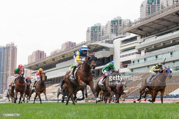 February 16 : Jockey Joao Moreira riding Cheerful Leader wins Race 3 Citigold Handicap at Sha Tin Racecourse on February 16 , 2020 in Hong Kong.
