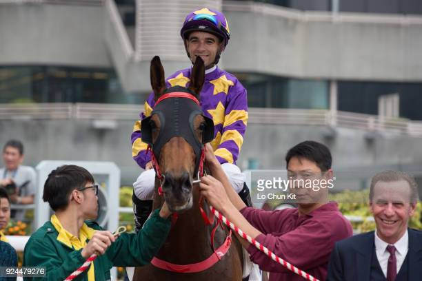 Jockey Joao Moreira riding Eastern Express wins Race 2 Citi Priority Handicap at Sha Tin racecourse on February 25 2018 in Hong Kong Hong Kong