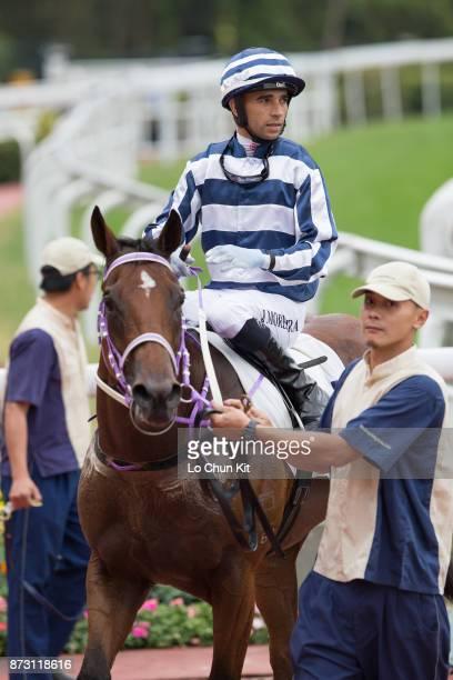 KONG NOVEMBER Jockey Joao Moreira riding Eighty Eighty during Race 5 Panasonic 4k Oled TV Handicap at Sha Tin racecourse on November 11 2017 in Hong...