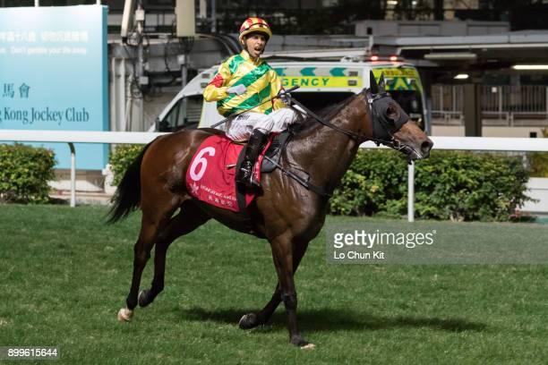 Jockey Joao Moreira riding Imperial Gallantry wins the Race 7 Ma Wan Handicap at Happy Valley Racecourse on December 27 2017 in Hong Kong Hong Kong