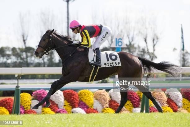 Jockey Joao Moreira riding La Felicite wins the Race 5 at Kyoto Racecourse on November 24, 2018 in Kyoto, Japan.