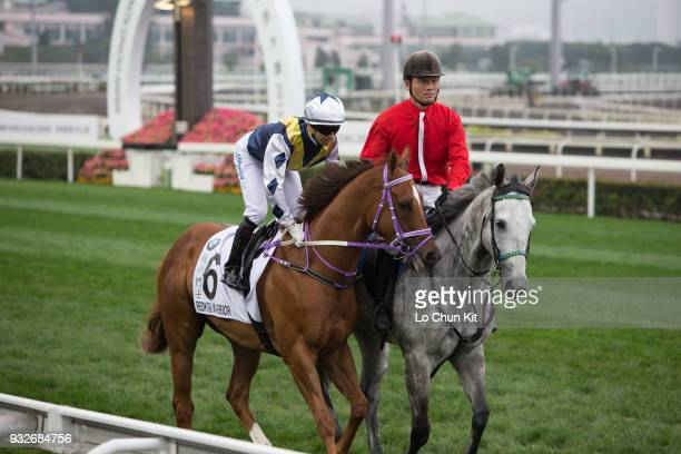 KONG – MARCH Jockey Joao Moreira riding Redkirk Warrior during Race 9 The BMW Hong Kong Derby 2015 at Sha Tin racecourse on March 15 2015 in Hong Kong