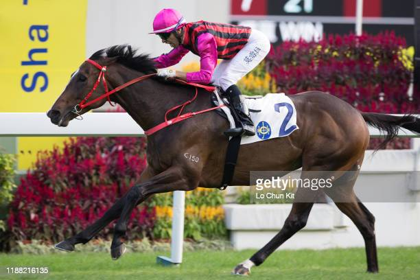 November 17 : Jockey Joao Moreira riding Waikuku wins Race 6 Jockey Club Mile at Sha Tin Racecourse on November 17 , 2019 in Hong Kong.