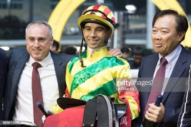 Jockey Joao Moreira trainer Paul O'Sullivan and owner celebrate after Imperial Gallantry winning the Race 7 Ma Wan Handicap at Happy Valley...