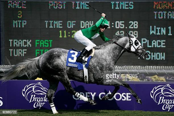 Jockey Joe Talamo aboard California Flag wins the Breeders' Cup Turf Sprint onemilliondollar thoroughbred race at Santa Anita Park in Arcadia...