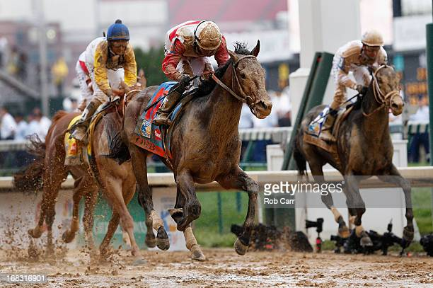 Jockey Joel Rosario guides Orb to the finish line to win the 139th running of the Kentucky Derby at Churchill Downs on May 4 2013 in Louisville...