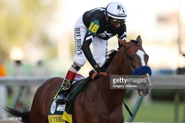 Jockey John Velazquez aboard Authentic, celebrates after winning the 146th running of the Kentucky Derby at Churchill Downs on September 05, 2020 in...