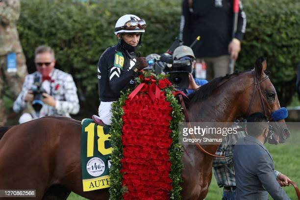 Jockey John Velazquez, aboard Authentic, celebrates after winning the 146th running of the Kentucky Derby at Churchill Downs on September 05, 2020 in...