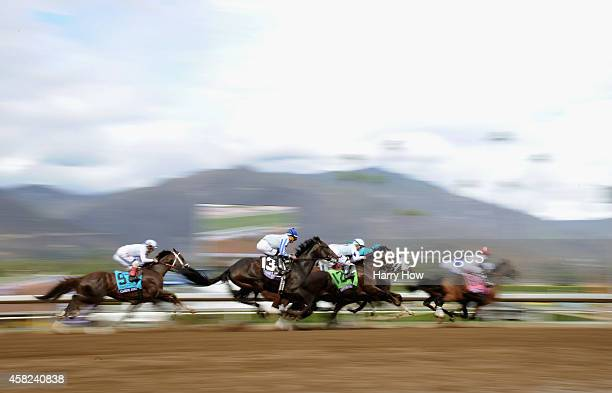 Jockey Jose Ortiz rides Upstart in the middle of the pack during the 2014 Sentient Jet Breeders' Cup Juvenile at Santa Anita Park on November 1 2014...