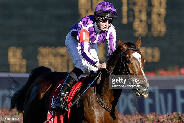 Jockey Joseph O'Brien smiles after riding St Nicholas Abbey to win the Breeders' Cup Turf during the 2011 Breeders' Cup World Championships at...