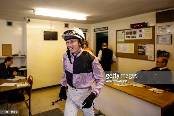 Jockey Joshua Moore leaves the weighing room at Fontwell Park racecourse on February 15 2018 in Fontwell England