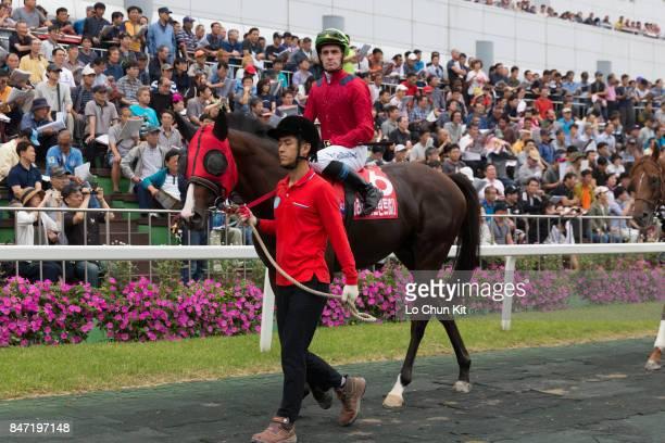 Jockey JP Guillambert riding Drop The Beat during the Korea Sprint at Seoul Racecourse on September 10 2017 in Seoul South Korea