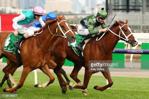 Jockey Jye McNeil rides Kings Will Dream to to win race 7 the TAB Turnbull Stakes during Turnbull Stakes Day at Flemington Racecourse on October 05...