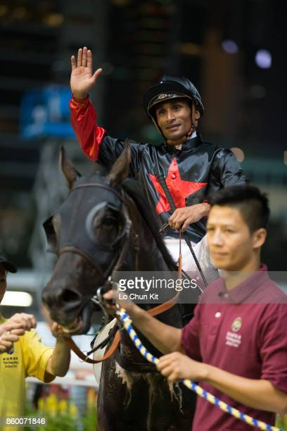 Jockey Karis Teetan riding Empire Of Mongolia wins Race 3 Los Angeles Handicap at Happy Valley racecourse on September 13 2017 in Hong Kong Hong Kong...