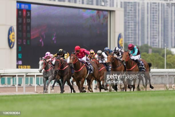 Jockey Karis Teetan riding Mr Stunning wins Race 5 Longines Hong Kong Sprint at Sha Tin racecourse during the LONGINES Hong Kong International Races...