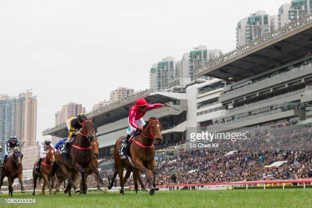 Jockey Karis Teetan riding Mr Stunning wins Race 5 Longines Hong Kong Sprint during the LONGINES Hong Kong International Races Day at Sha Tin...