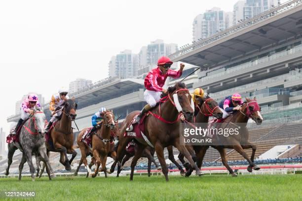 Jockey Karis Teetan riding Mr Stunning wins the Race 5 Chairman's Sprint Prize at Sha Tin Racecourse on April 26 2020 in Hong Kong The public areas...