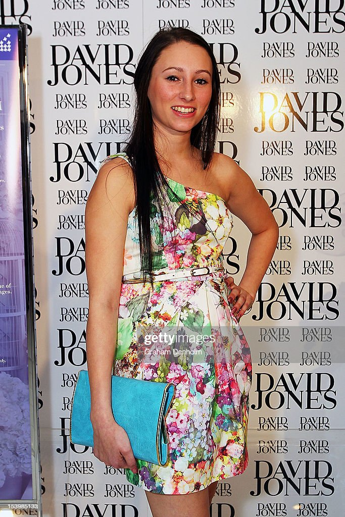 Jockey Katelyn Mallyon poses at the David Jones High Tea & Spring Millinery Event at David Jones Bourke Street Mall on October 12, 2012 in Melbourne, Australia.
