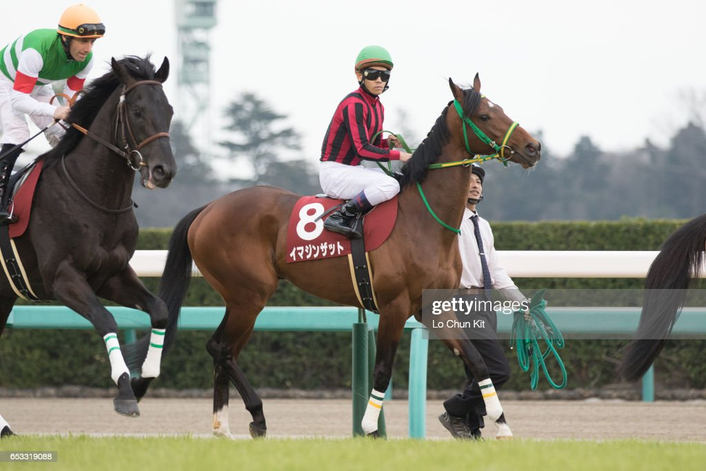 Jockey Keita Tosaki riding Imagine That during the Race 11 Yayoi Sho - Japanese 2000 Guineas Trial (G2 2000m) at Nakayama Racecourse on March 6, 2016 in Funabashi, Chiba, Japan.