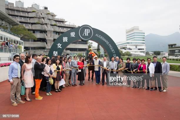 KONG APRIL Jockey Keith Yeung Minglun and owners celebrate after Win Chance winning Race 1 Audemars Piguet Royal Oak Handicap at Sha Tin racecourse...