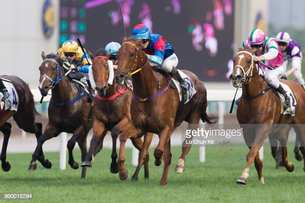 Jockey Keith Yeung Minglun riding Coby Boy wins Race 10 Sports For All Handicap at Sha Tin racecourse on April 21 2018 in Hong Kong