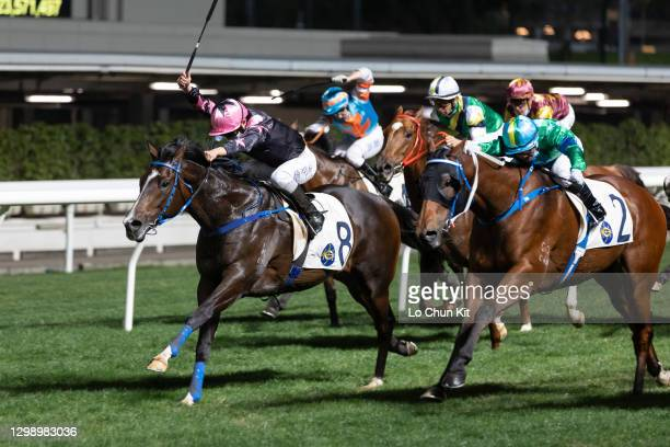 Jockey Keith Yeung Ming-lun riding The Anomaly wins the Race 3 Ice House Handicap at Happy Valley Racecourse on January 27, 2021 in Hong Kong. The...