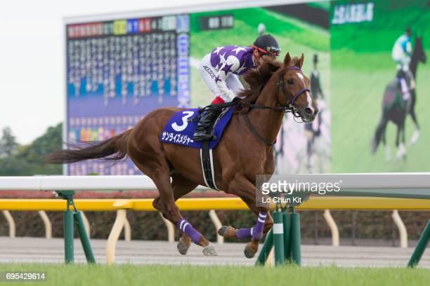 Jockey Kenichi Ikezoe riding Sunrise Major during the Race 11 Yasuda Kinen at Tokyo Racecourse on June 4 2017 in Tokyo Japan