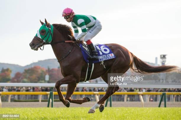 Jockey Kenichi Ikezoe riding Yamakatsu Ace during the Japan Cup at Tokyo Racecourse on November 26 2017 in Tokyo Japan