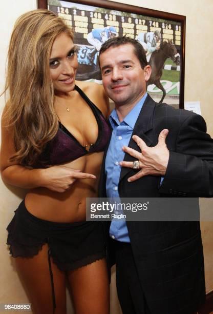 Jockey Kent Desormeaux and Model Melanie Tillbrook attend the Moves Magazine Annual Super Bowl Gala on February 3 2010 in Hallandale Florida