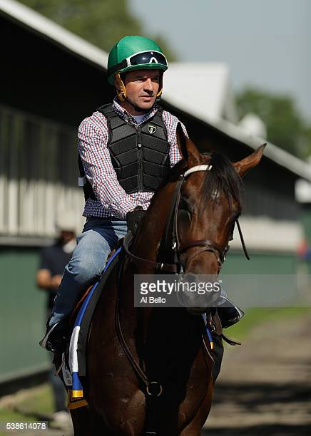 Jockey Kent Desormeaux rides Exaggerator after a training session prior to the 148th running of the Belmont Stakes at Belmont Park on June 6 2016 in...