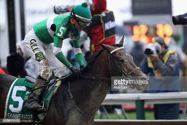 Jockey Kent Desormeaux rides Exaggerator to win the 141st Running of the Preakness Stakes at Pimlico Race Course on May 21 2016 in Baltimore Maryland
