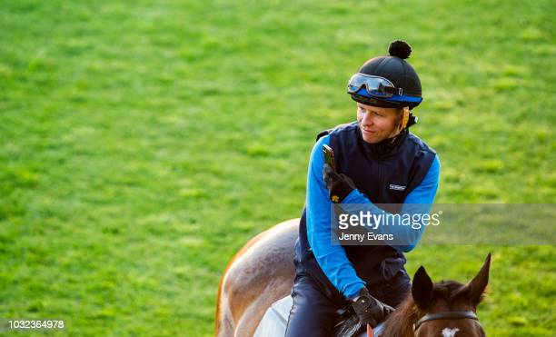 Jockey Kerrin McEvoy aboard Unforgotten takes a picture of Winx with his iPhone during a trackwork session at Rosehill Gardens on September 13 2018...