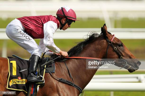 Jockey Kerrin McEvoy rides Guelph to win race six the Schweppes Thousand Guineas during Thousand Guineas Day at Caulfield Racecourse on October 16...