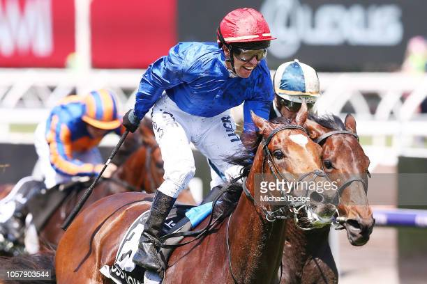 Jockey Kerrin McEvoy riding Cross Counter wins race 7 the Lexus Melbourne Cup during Melbourne Cup Day at Flemington Racecourse on November 6 2018 in...
