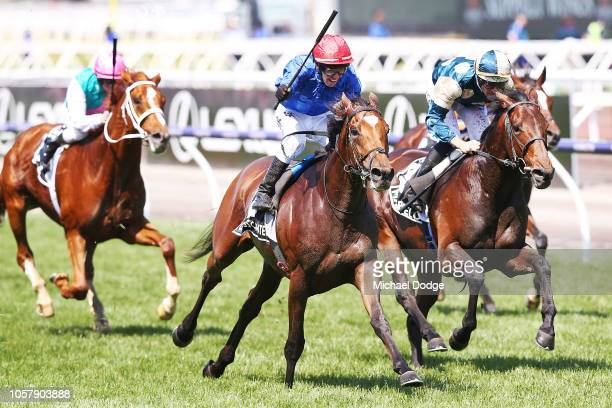 Jockey Kerrin McEvoy riding Cross Counter wins race 7 the Lexus Melbourne Cup during Melbourne Cup Day at Flemington Racecourse on November 6, 2018...